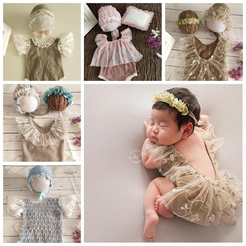 2Pcs Newborn Photography Props Baby Lace Bodysuit Outfits Bonnet Fotografia Accessories Studio Shoot Photo Props