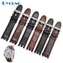 Wysokiej jakości pasek ze skóry naturalnej zegarek do zegarka Swatch YRS403 412 402G Watch band 21mm watchband mężczyźni curved end zegarki bransoletka