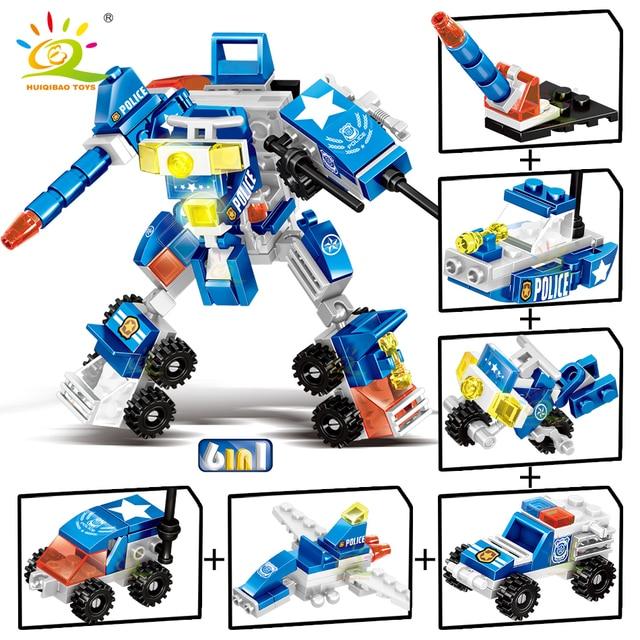 """Конструктор HUIQIBAO """"Робот – полицейский"""", 140 шт. 6 в 1"""