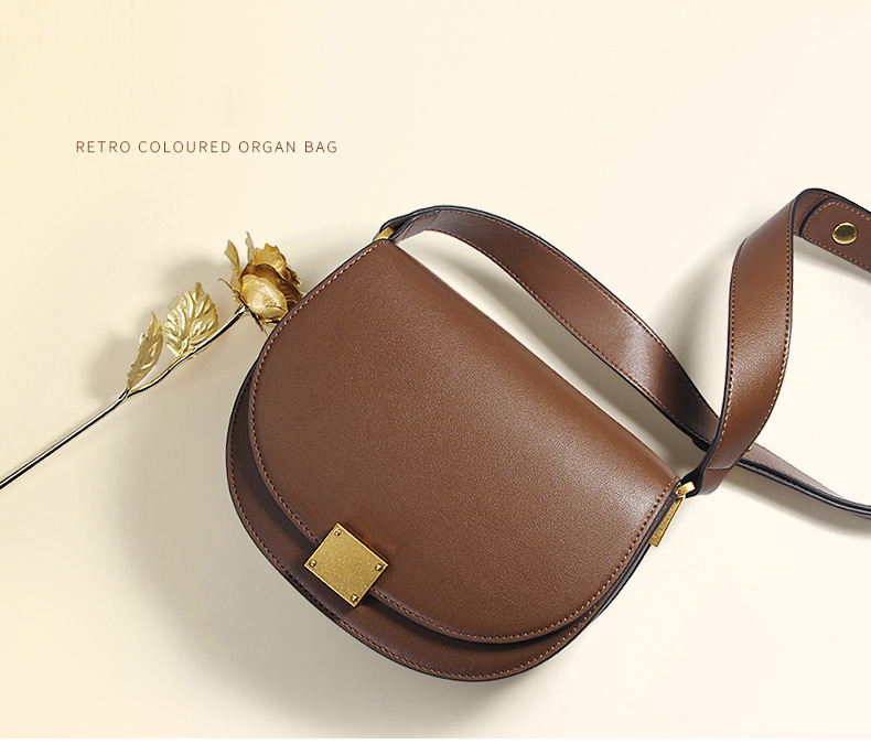 Hot Sale Women Crossbody Bags Genuine Leather Female Saddle Bag Retro Solid Cowhide Shoulder Messenger Bag Brown bolsas mujer