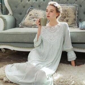 Image 4 - Princess Style Cotton Night Dress Women Sleepwear Lace Palace Vintage Nightgowns Solid Teenage Girl Sleeping Dress Long Nighty