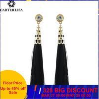 CARTER LISA nouvelle déclaration bijoux de mode cristal longue boucle d'oreille gland pour les femmes 4 couleurs de mariage balancent boucles d'oreilles en gros