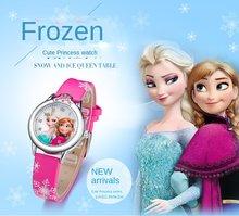 Montre princesse Elsa pour filles, joli bracelet en cuir, dessin animé, cadeaux pour enfants
