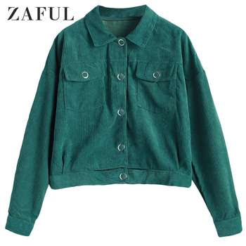 ZAFUL Corduroy Button Up Flap Pockets Jacket For Women Wide-Waisted Drop Shoulder Shirt Collar Tops Solid Color Autumn Spring фото