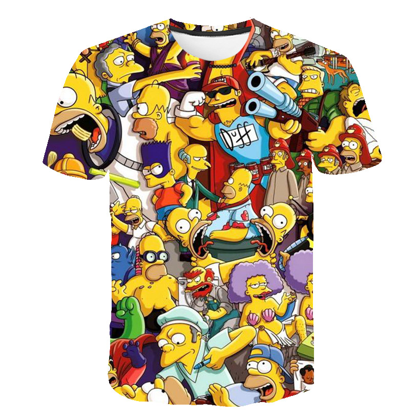 New Men And Women Fat T-shirt Simpson Print 3D T-shirt Cartoon Funny Simpson Family T-shirt O-neck Short-sleeved Casual T-shirt