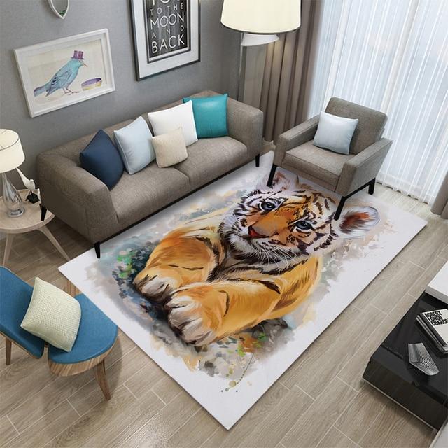 3D Tiger Zebra Print Animal Texture Carpet Living Room Coffee Table Home Mat