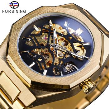 Forsining 2019 Gold Mechanical Automatic Watches For Men Skeleton Waterproof Clock Top Brand Luxury Luminous Hands Wristwatches - discount item  22% OFF Men's Watches