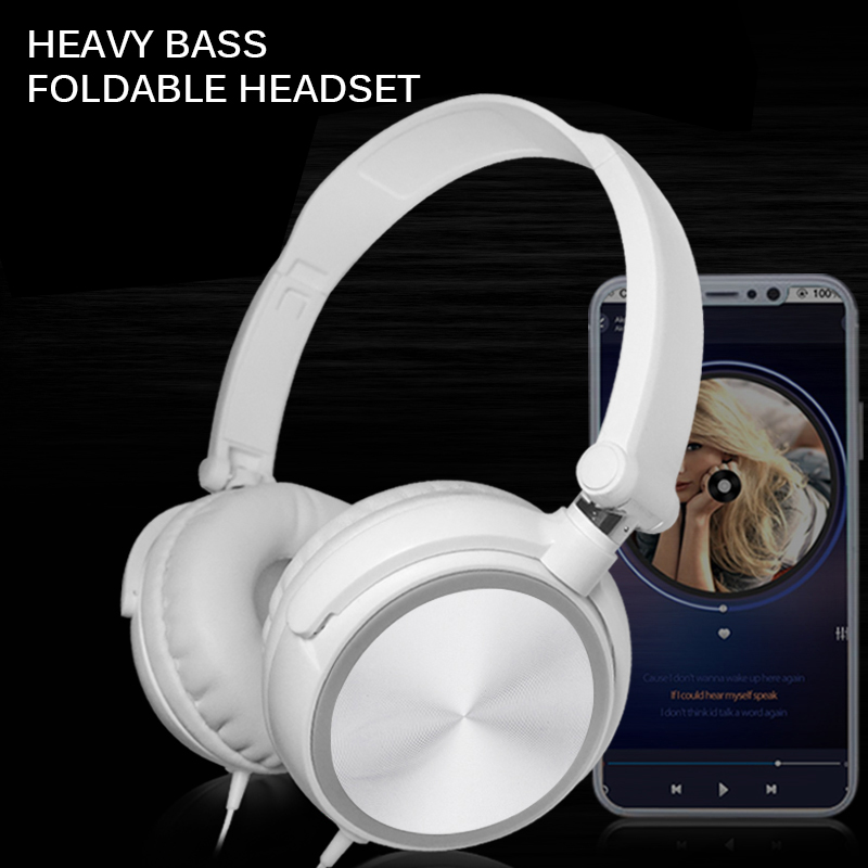 3.5mm Wired Foldable Headphone 3D HiFi Over Ear Headsets Bass Sound Music Stereo Earphone With Mic For iPhone Xiaomi Sony Huawei