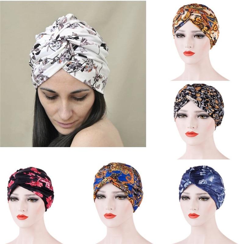 Muslim Headdress Turban Bonnet For Woman Cotton Print Inner Hijab Caps Arab Headwrap Turban Femme Musulman Islamic Headscarf