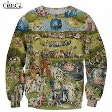 Camiseta jardim eur religião arte pintura imprime 3d moletom das mulheres dos homens manga longa outerwear crewneck topos t205