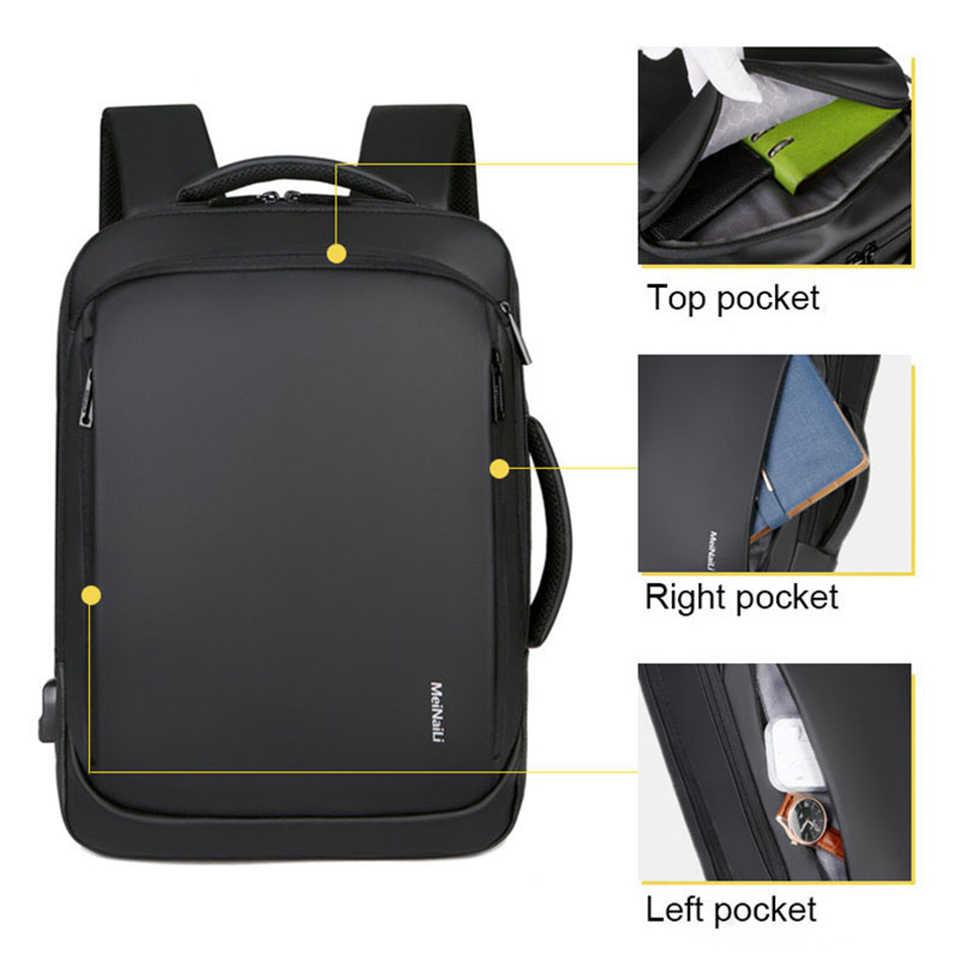 SHUJIN dizüstü sırt çantası erkek erkek sırt çantaları iş not defteri Mochila su geçirmez geri paketi USB şarj çantaları seyahat sırt çantası