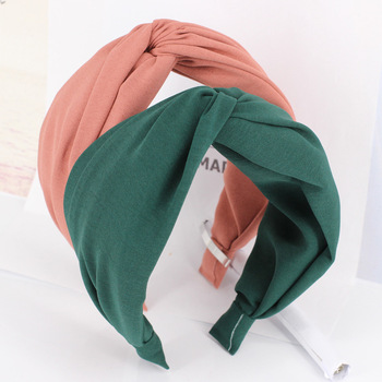 Solid Color Cloth Cross Hairband Headband Turban for Women Lady Wide Plastic Hair Hoop Bezel Hair Bands Accessories levao simple matte solid color head hoop chain hair accessories girls women hollow bezel turban headwear headband hairband lady