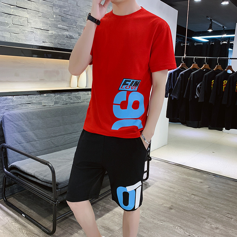 Summer Set Men's Trend Korean-style Loose-Fit Teenager Hip Hop Leisure Suit Sports Clothing Two-Piece Set MEN'S Short Sleeve