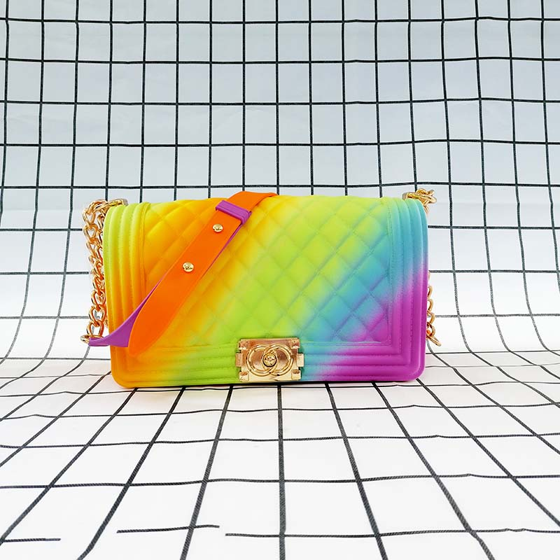 GW Luxury Fashion High Quality Ladies Square Handbags Women Colorful Rainbow  Jelly Handbags 2020 Designer New Style