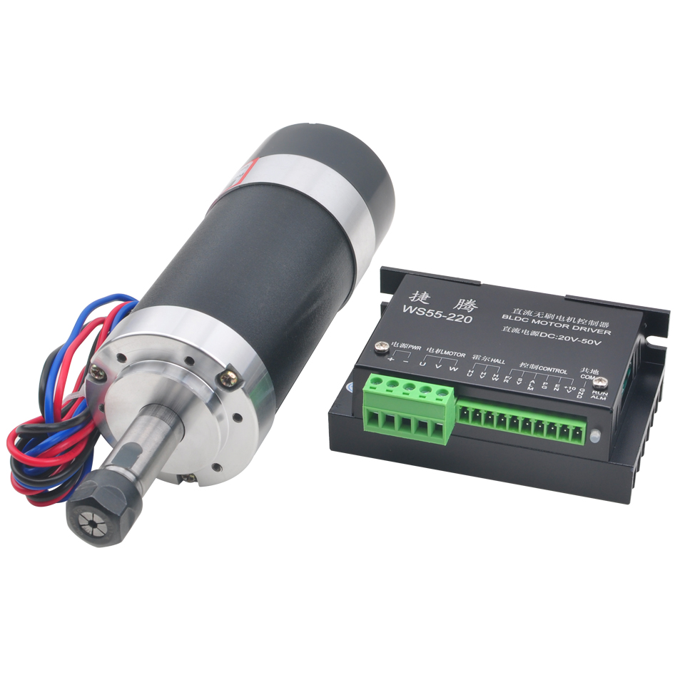 500W Brushless Spindle Motor Air Cooled Spindle ER11 55MM Bracket DC 48V Machine Tool Router For CNC Milling Engraver Machine-in Machine Tool Spindle from Tools