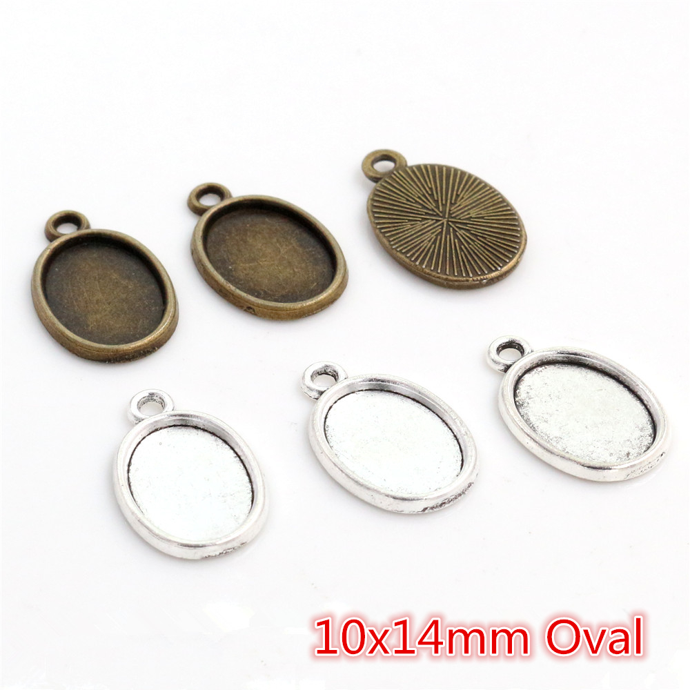 20pcs 10x14mm Inner Size Antique Silver Plated Bronze One Loop Style Cameo Cabochon Base Setting Pendant Necklace Findings