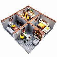 Şehir evi oyuncak inşaat blokları çocuklar için erkek kız DIY hediyeler MOC tuğla yatak odası oturma odası mobilya modeli Juguetes Bloques