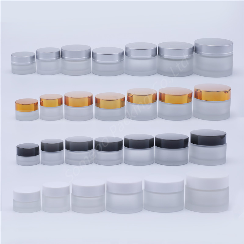 5G 10G 15G 20G 25G 30G 50G 100G Frosted Glass Refillable Ointment Bottles Empty Cosmetic Jar Pot Eye Shadow Face Cream Container