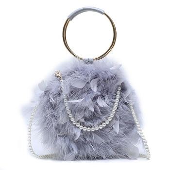 Winter Fashion Feather Fur Bag Ladies Fashion Pearl Ring Portable Turkey Feather Single Real Feather Fur Bag Banquet Female Bag