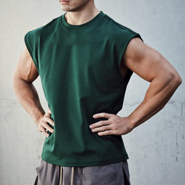 Men Tank Top Broad Shoulder Vest Casual Loose  Mens Crop Top Workout  Exercise Clothing Sleeveless Shirt 6