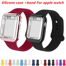 Case+watch strap for apple watch 4 band 44mm correa 38 mm/40mm iwatch 42mm silicone bracelet watchband 4/3/2/1