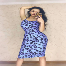 R65 Sexy female leopard print dress stretched colorful pleated skirt models party wears one-piece outfit disco skirt sleeveless
