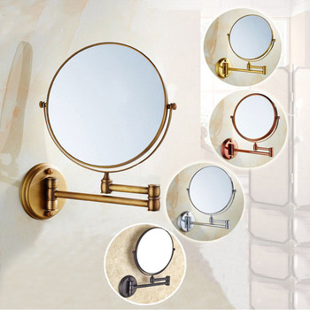 8 Inch Bath Mirror 3X Magnification Wall Mounted Adjustable Makeup Mirror Dual Arm Extend 2-Face Bathroom Mirror KD002 bath mirror cosmetic mirror 1x 3x magnification suction cup adjustable makeup mirror double sided bathroom mirror