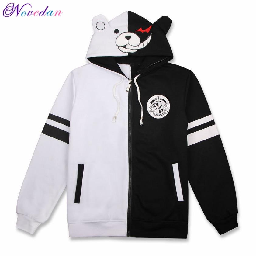 Anime Danganronpa Monokuma Cosplay Costume Unisex Hoodie Sweatshirt Hooded Black White Bear Long Sleeve Daily Casual Coat Jacket