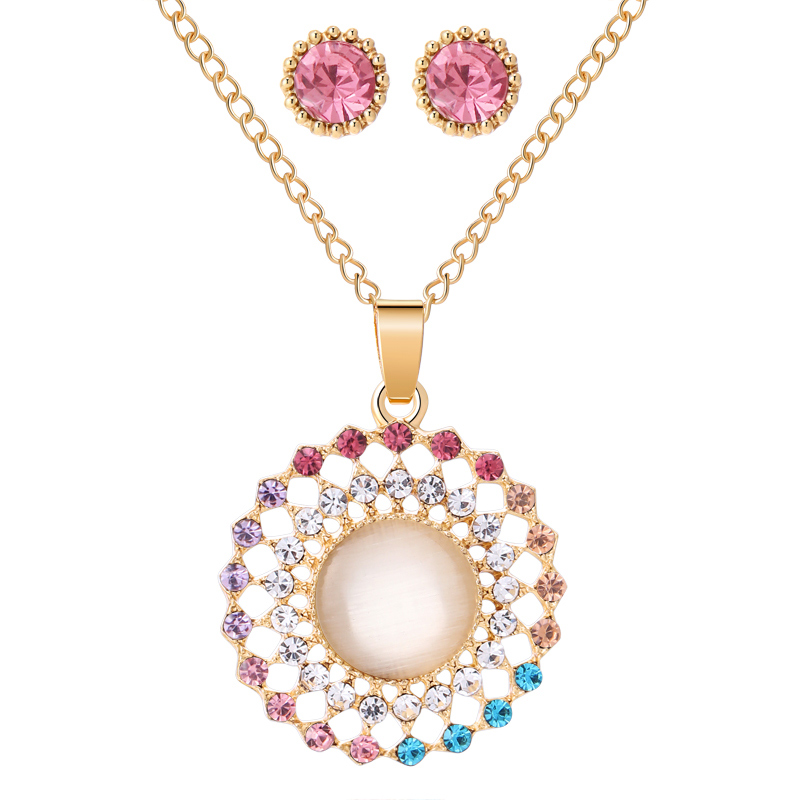 Exquisite Gold Color Bridal Jewelry Sets Bling Austrian Crystal Opal Stone Pendant Necklaces Earrings Wedding Accessory Gifts 6