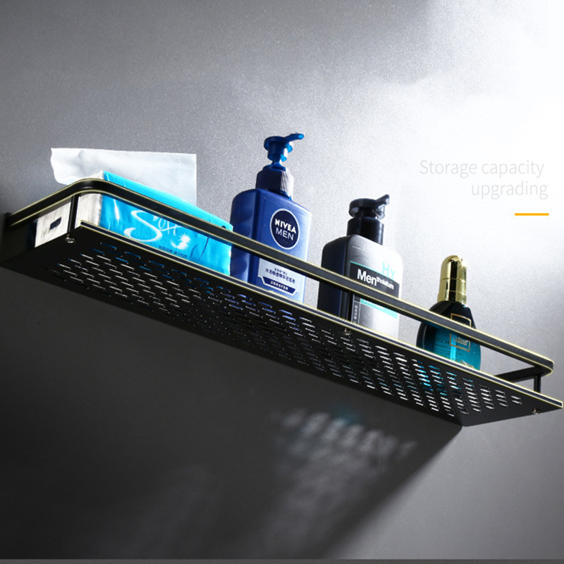 Shampoo Shelf Organizer-Rack Cosmetic-Shelves Kitchen-Nets Black Aluminum Square Wall-Mounted