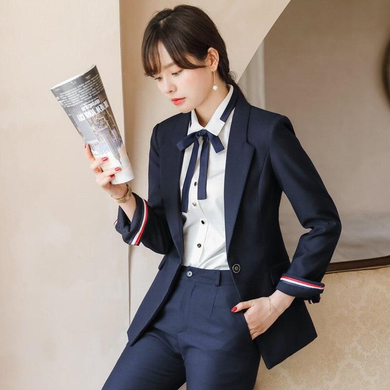2019 Autumn Business Suit Women's Fashion Elegant College Student Business Interview Formal Wear White Collar British-Style Work