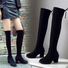 купить Over The Knee Boots Women Black Sexy Boots High Heels Boots Ladies Autumn Winter Women Boots 2019 New Fashion Thigh High Boots по цене 1112.07 рублей