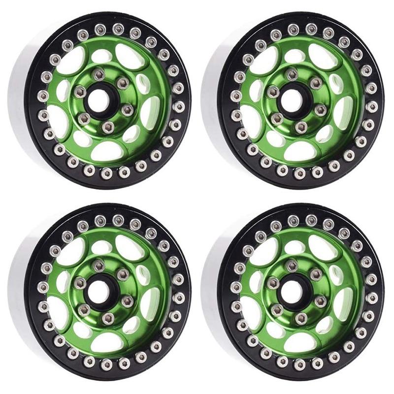4PCS Metal 1.9 Inch Beadlock Wheel Rims for 1/10 Scale Rc Crawler Traxxas TRX-4 Axial Scx10 II D90 Tamiya CC01 D110(Green+Black)(China)