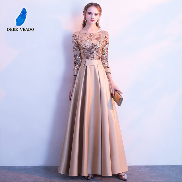 DEERVEADO A Line Sequin Golden Evening Dress Long Prom Party Dresses Evening Gown Formal Dress Women Elegant Robe De Soiree M254 1