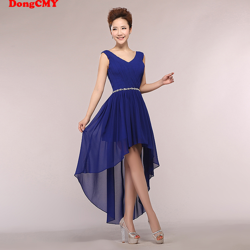 DongCMY new 2020 V-Neck beading bride lace up chiffon vestido longo elegant chiffon dresses Bridesmaid dress