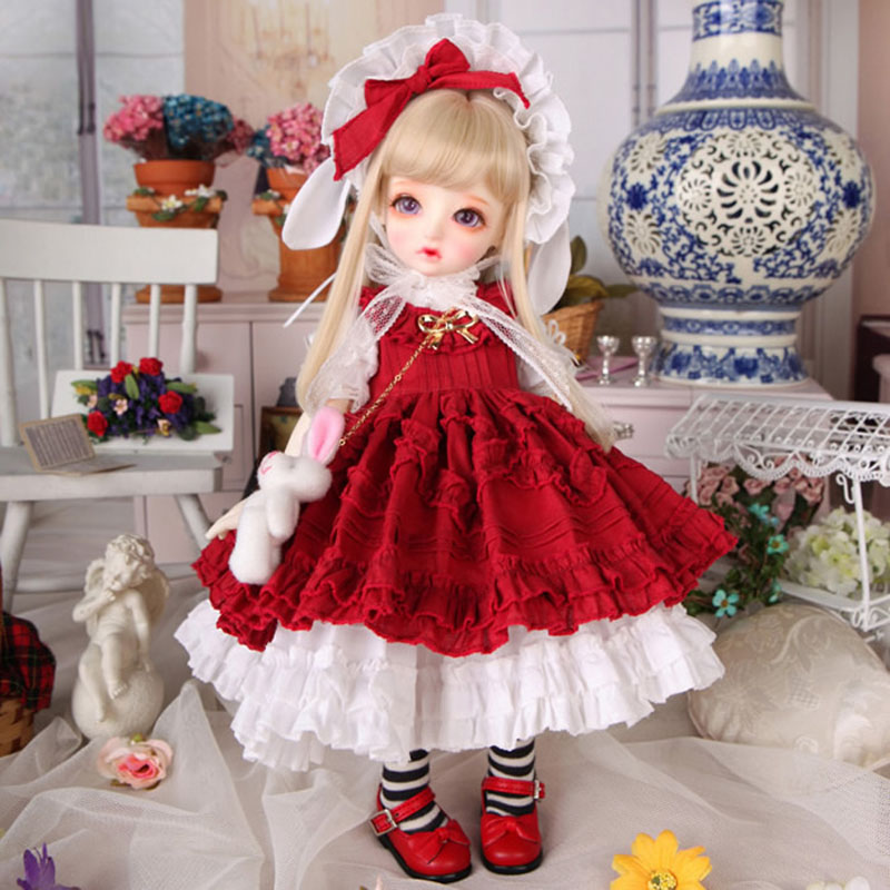 New Arrival 1/4 1/6 BJD Doll Lovely Clothes Red Dress For Bjd Dolls Toys Accessories