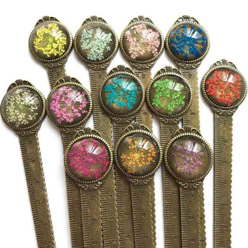 1 Pcs Retro Dried Flowers Metal Bronze Bookmarks Ruler Book Markers With Glass For Book Page Marker School Stationery Gifts