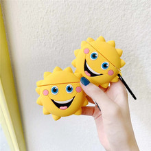 For AirPod 2 Case 3D Smile Sunflower Cartoon Soft Silicone Wireless Earphone Cases Apple Airpods Cute Cover Funda