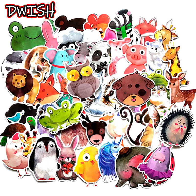 10/30/50pcs Children Cartoon Animal Waterproof PVC Stickers Skateboard Guitar Suitcase Funny Graffiti Sticker Kids Classic Toy