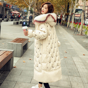 Image 2 - 100% white duck down jacket female explosion models winter natural fox big fur collar long section thick ladies down jacket