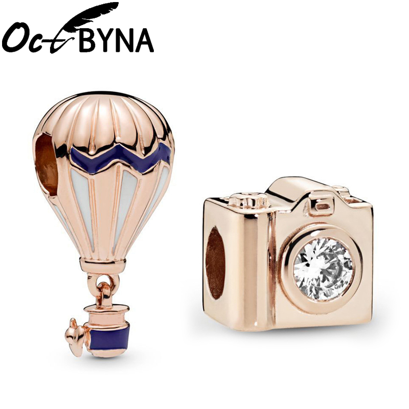 Rose Gold Hot Air Balloon Pendant And Record Wonderful Moment Crystal Camera Charm Beads Fits Pandora Bracelet Necklace Making image