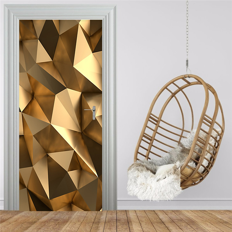 Modern 3D Golden Geometric Mural Wallpaper Living Room Bathroom Self-Adhesive Waterproof Door Sticker Home Decor 3D Door Poster