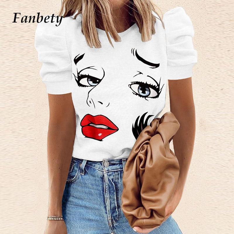 2021 Vintage Puff Sleeve Women Shirt Summer Casual O Neck Korean Style Ladies Tops Elegant Fashion Girl Printed Loose Blusas XXL
