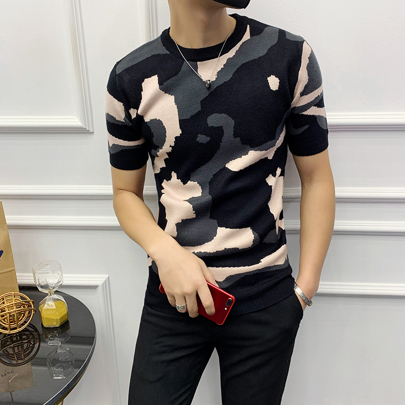 Luxury Men's Summer Dress Knit T-Shirt Red Camouflage Sweater Men's Short Sleeve Pullover Hombre Slim Fit Fashion Men's T-Shirt