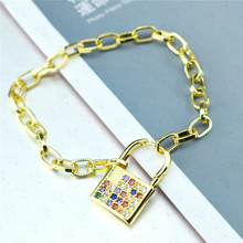 Trendy Lock Design Women Chunky Chain Bracelet Rainbow/White Cubic Zircon Jewelry Gold Color Girls CZ Bangles for Party Gift