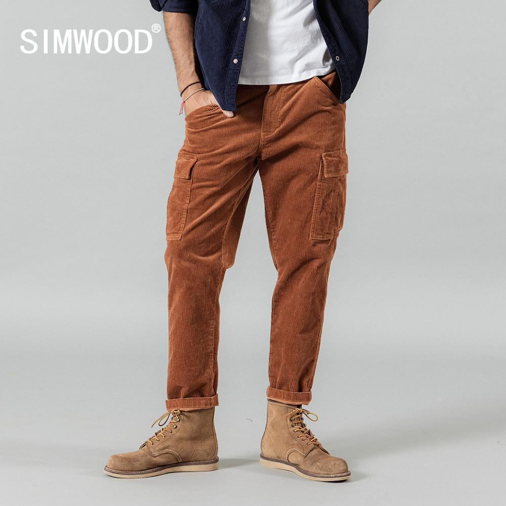 SIMWOOD  Winter New Warm Corduroy Cargo Pants Men Casual Ankle-length Multi-pockets High Hop Streetwear Trousers SI980609