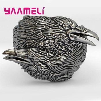 Viking Men Two Entwined Ravens Ring Norse Mythology Antique Silver Crow for Women Nordic Amulet Boho Jewelry image