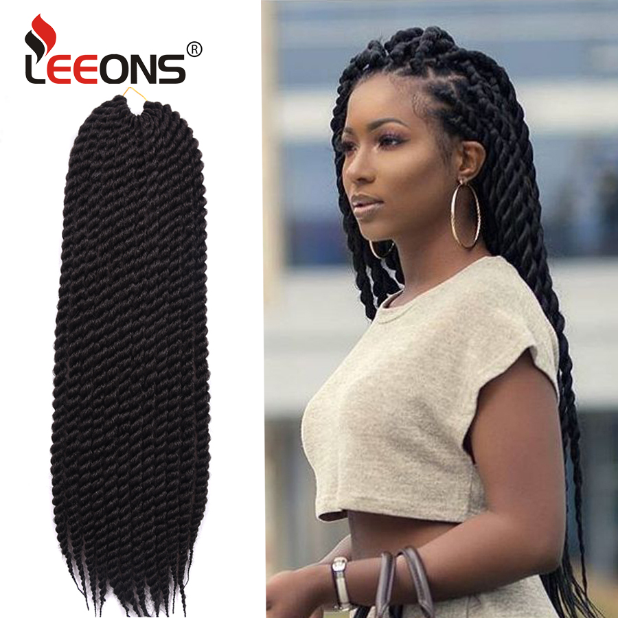 "Leeons High Quality 12"" 18"" 22"" Havana Mambo Twist Hair Crochet Braids Crochet Synthetic Hair Extensions For Black Women 12roots"