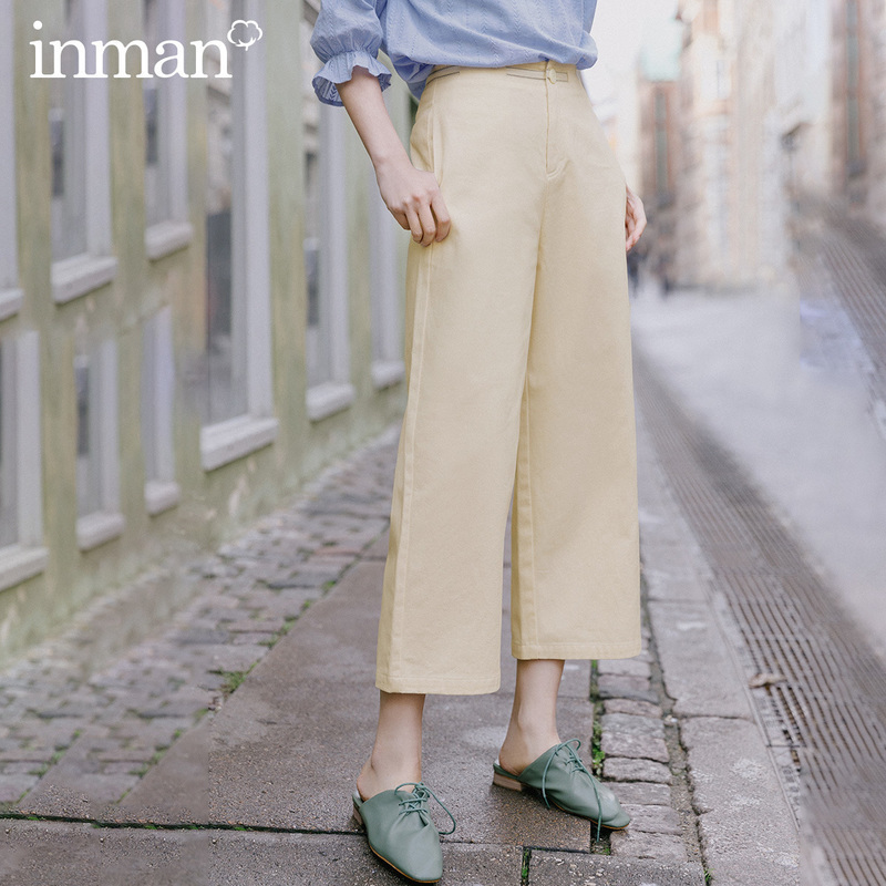 INMAN 2020 Spring New Arrival Literary Leisure Pure Cotton Ankle-length Slimmed High Waist Loose Pant