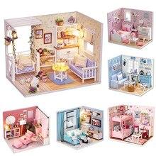 Casa de boneca DIY Casa De Boneca Móveis casa de Bonecas Em Miniatura Modelo de Brinquedo De Madeira Casas de Bonecas Presente de Aniversário Brinquedos H012